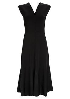 Victoria Beckham V-Neck Flared Midi Dress
