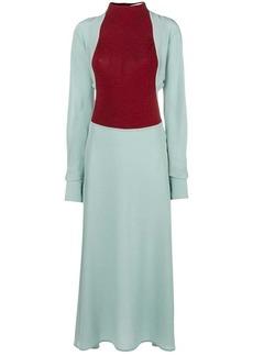 Victoria Beckham VIcolor blocked long sleeve dress
