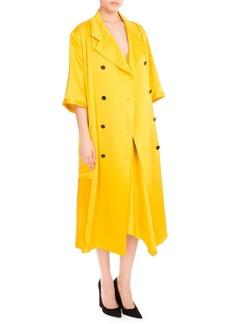 Victoria Beckham 3/4-Sleeve Double-Breasted Pleated Coat