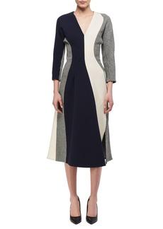 Victoria Beckham 3/4-Sleeve Paneled Midi Dress