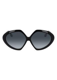 Victoria Beckham 64mm Gradient Oversize Guilloche Geometric Sunglasses