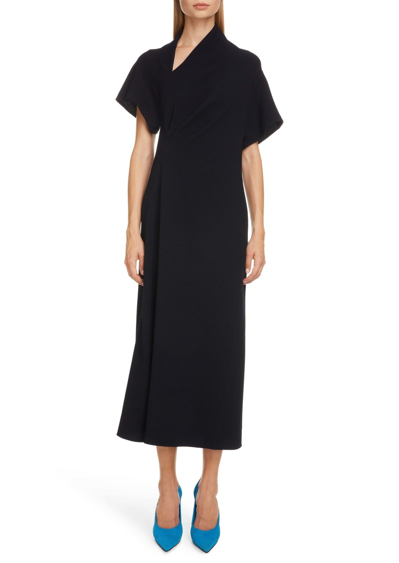 Victoria Beckham Asymmetrical Neck Midi Dress