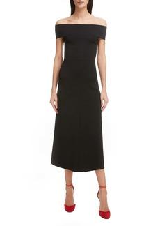 Victoria Beckham Bardot Off the Shoulder Midi Dress