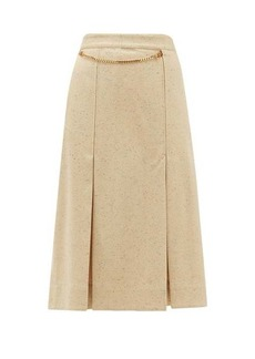 Victoria Beckham Belted high-rise silk-blend tweed skirt