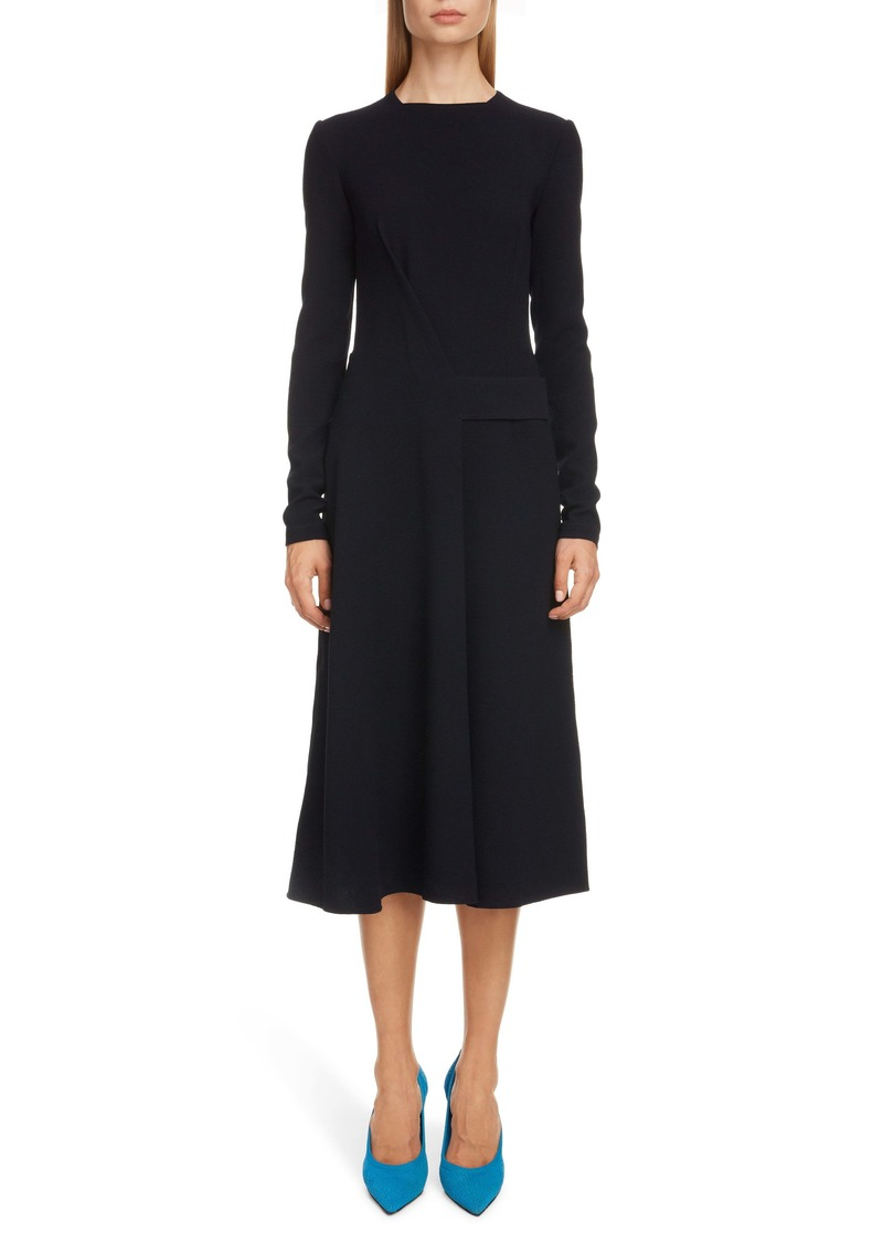 Victoria Beckham Belted Long Sleeve Midi Dress