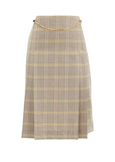 Victoria Beckham Belted pleated checked-wool high-rise skirt