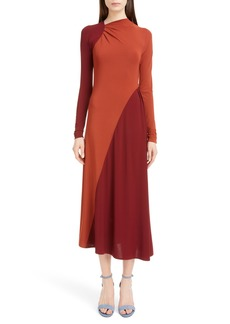 Victoria Beckham Bicolor Asymmetrical Jersey Midi Dress