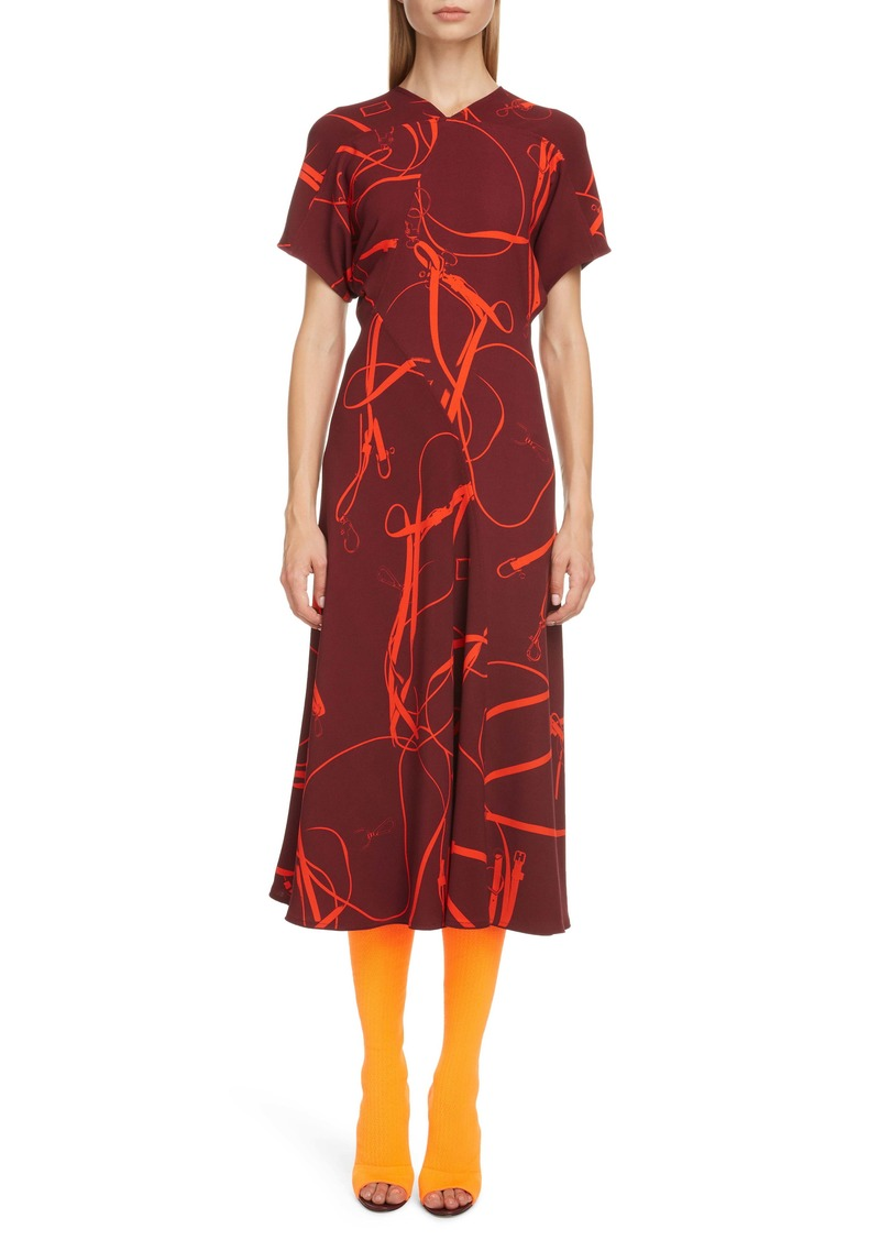 Victoria Beckham Bridle Print Crepe Midi Dress