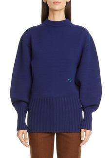 Victoria Beckham Button Back Stretch Wool Sweater
