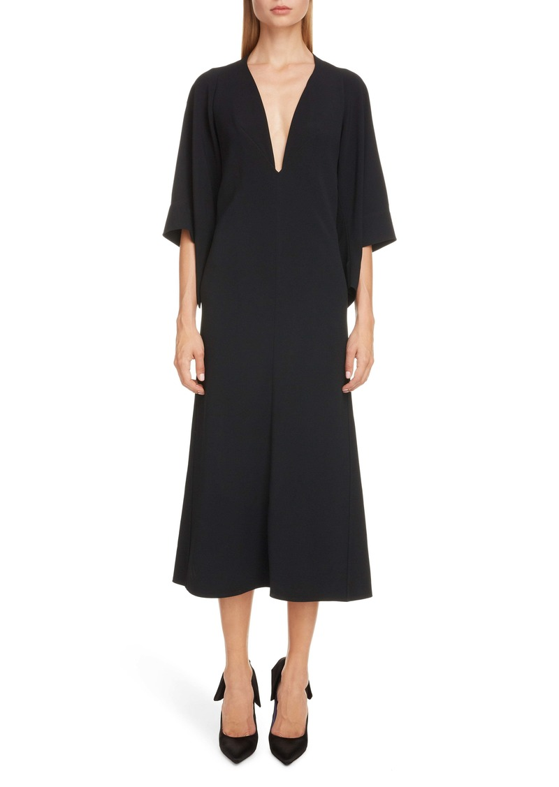 Victoria Beckham Cape Sleeve Midi Dress