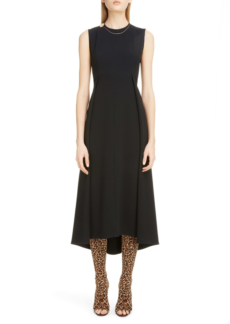 Victoria Beckham Chain Detail Pleated Cady Midi Dress