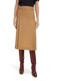 Victoria Beckham Chain Detail Wool Skirt