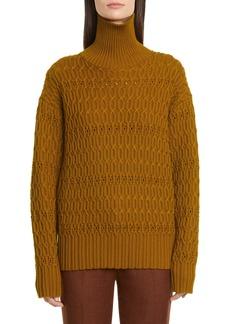 Victoria Beckham Chain Knit Merino Wool Turtleneck Sweater