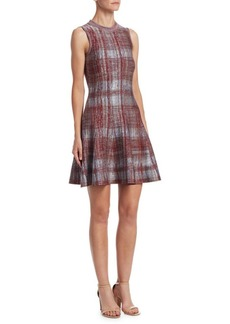 Victoria Beckham Check Tulip Hem Fit-and-Flare Dress