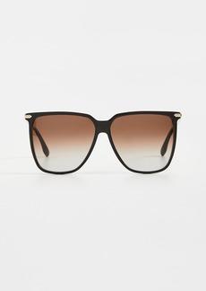 Victoria Beckham Chevron Oversized Square Sunglasses