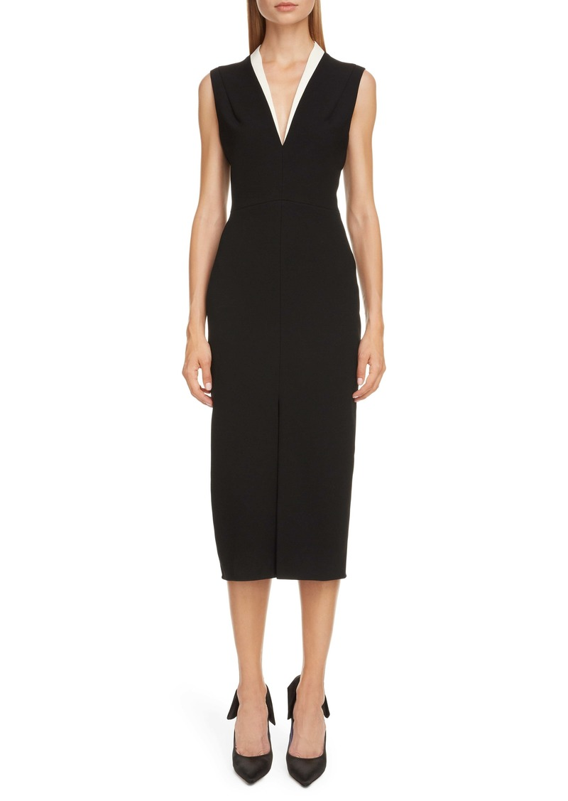 Victoria Beckham Contrast Collar Bonded Crepe Midi Sheath Dress