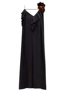 Victoria Beckham Corsage-brooch ruffled one-shoulder silk dress
