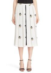 Victoria Beckham Crepe Satin Print Pleated Midi Skirt