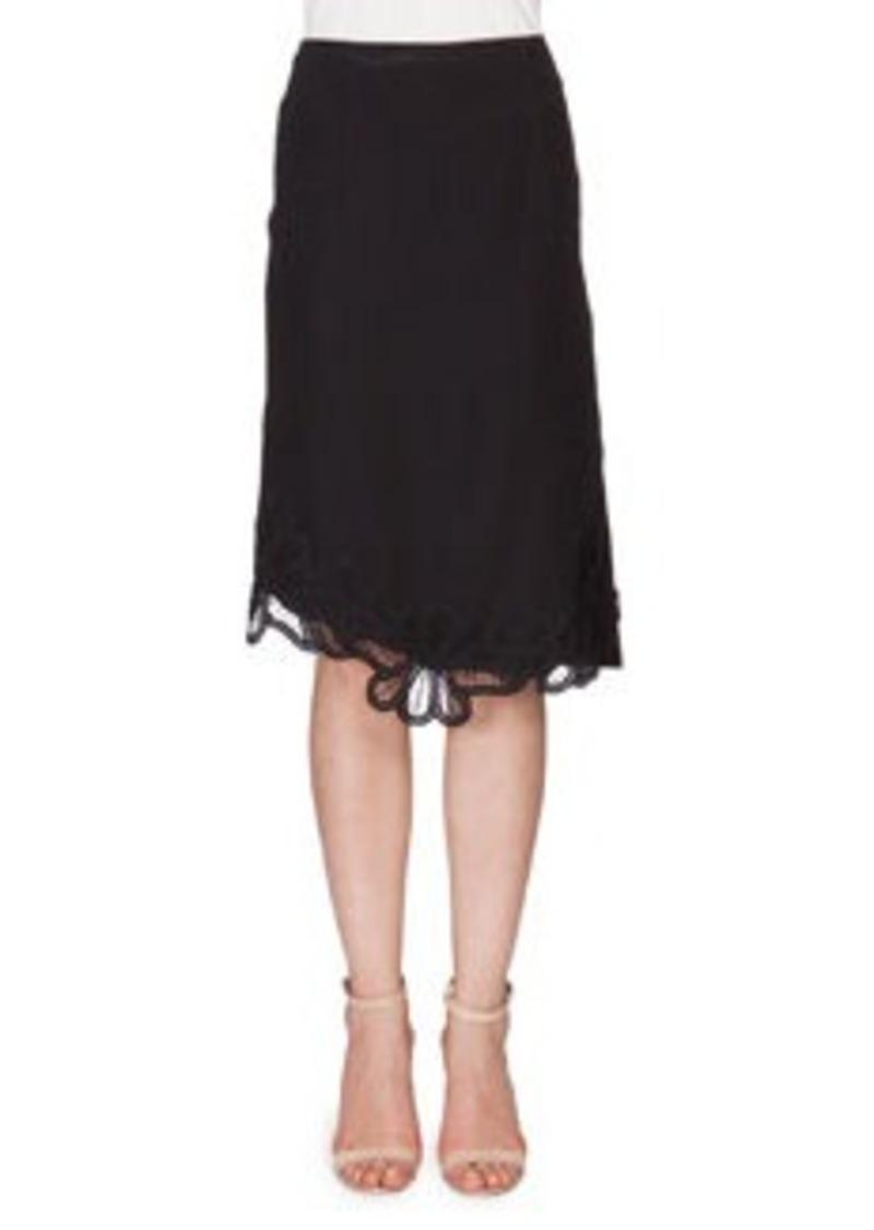Victoria Beckham Crepe Skirt w/Lace Applique