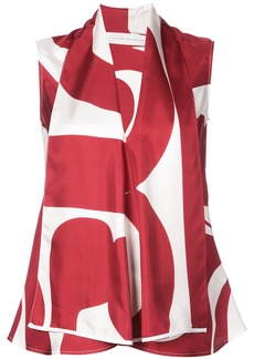 Victoria Beckham draped geometric blouse - Red