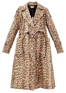Victoria Beckham Drawstring-waist leopard-print shell coat