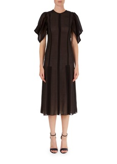 Victoria Beckham Elbow-Sleeve Lace Midi Dress