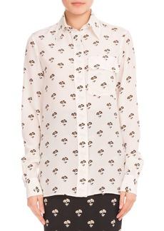 Victoria Beckham Floral-Print Silk Blouse