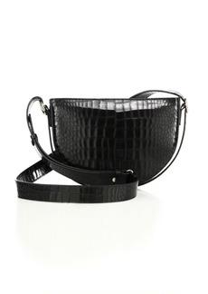 Victoria Beckham Half Moon Baby Croc-Embossed Leather Shoulder Bag