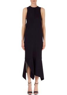 Victoria Beckham Handkerchief-Hem Midi Dress with Embroidery