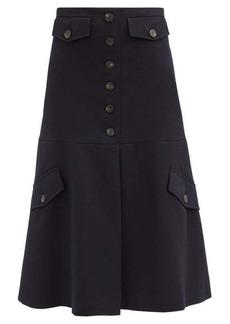 Victoria Beckham High-rise wool-twill midi skirt
