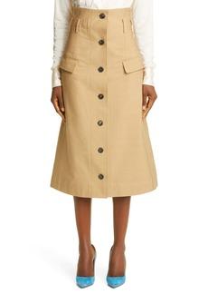 Victoria Beckham High Waist Button-Up Midi Skirt