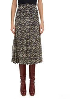 Victoria Beckham High Waist Pleated Silk Skirt