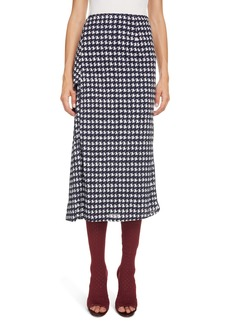 Victoria Beckham Houndstooth Print Wrap Midi Skirt