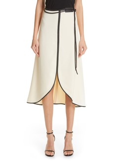 Victoria Beckham Leather Trim Midi Skirt