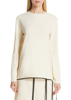 Victoria Beckham Leather Trim Top