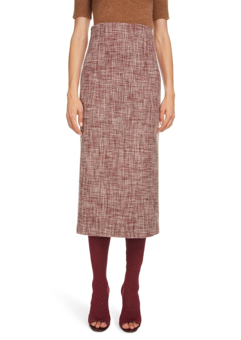 Victoria Beckham Linen & Wool Blend Tweed Pencil Skirt