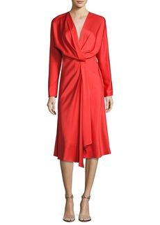 Victoria Beckham Long-Sleeve Draped Midi Dress