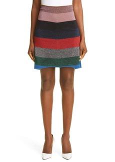 Victoria Beckham Multistripe Metallic Miniskirt