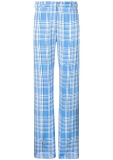 Victoria Beckham plaid straight leg trousers - Blue