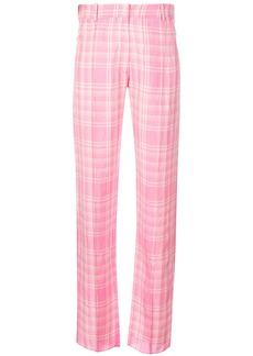 Victoria Beckham plaid straight leg trousers - Pink & Purple
