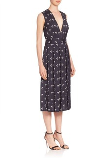Victoria Beckham Pleated Daisy-Print Midi Dress