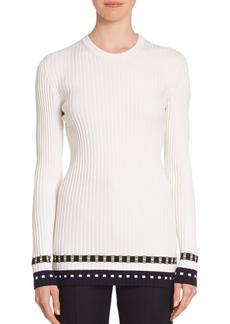 Victoria Beckham Rib-Knit Striped Hem Top