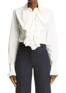 Victoria Beckham Ruffle Front Texture Stripe Blouse