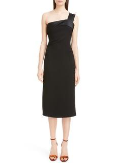 Victoria Beckham Satin Strap One-Shoulder Dress