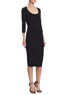 Victoria Beckham Scoop Neck Bodycon Knee-Length Dress