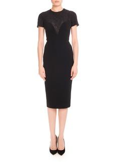 Victoria Beckham Short-Sleeve Lace-Yoke Dress