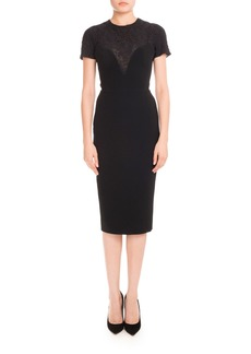 Victoria Beckham Short-Sleeve Lace-Yoke Dress