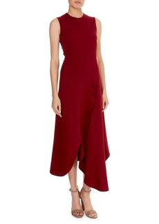 Victoria Beckham Sleeveless Asymmetric-Wave Hem Midi Dress