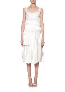 Victoria Beckham Sleeveless Bustier Plissé Midi Dress