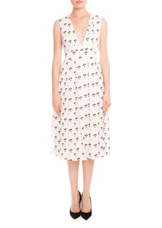Victoria Beckham Sleeveless Pleated Daisy-Print Midi Dress